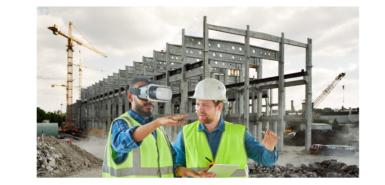 two construction workers experiencing virtual reality